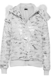 Queen B faux fur-trimmed metallic camouflage-print ski jacket