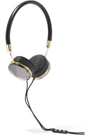 Layla leather, gunmetal and gold-tone headphones