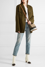 BurberryMini leather-trimmed checked canvas shoulder bag