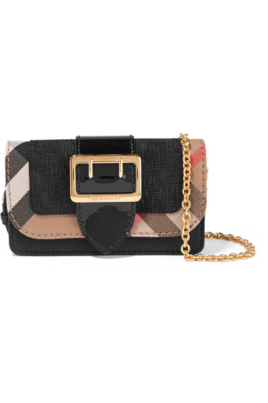Burberry - Canvas-trimmed Patent And Textured-leather Shoulder Bag - Black