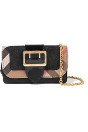 Burberry Canvas-trimmed patent and textured-leather shoulder bag