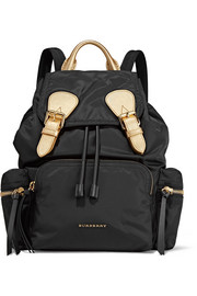Burberry Medium metallic textured leather-trimmed gabardine backpack