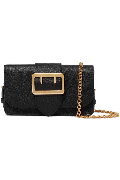 Burberry - The Mini Buckle Textured-leather Shoulder Bag - Black