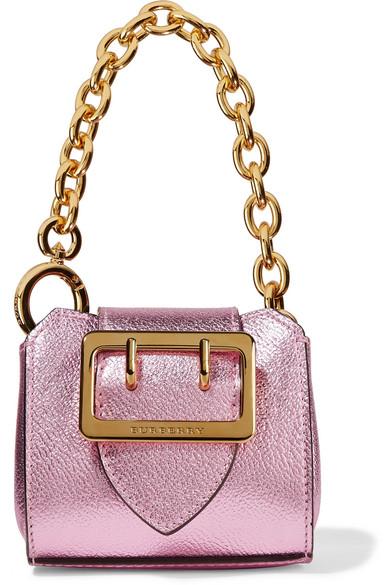 Burberry - Metallic Textured-leather Keychain - Pink