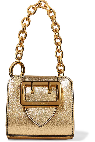 Burberry - Metallic Textured-leather Keychain - Gold