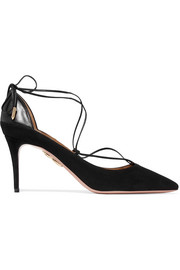 Fellini leather-trimmed suede pumps