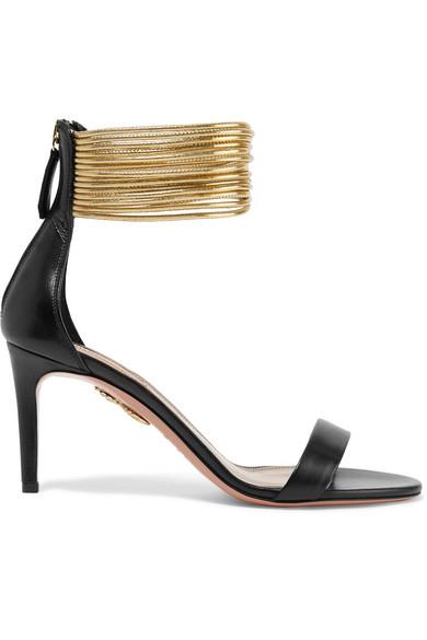 Aquazzura - Spin-me-around Leather Sandals - Black