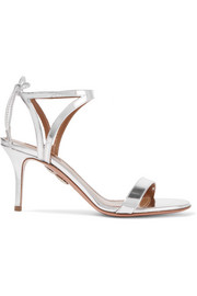Aquazzura Uma mirrored-leather sandals