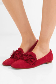 Wild fringed suede loafers