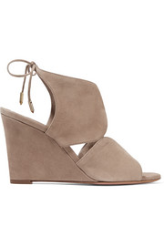 Aquazzura Iman cutout suede wedge sandals