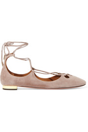 Aquazzura Dancer lace-up suede ballet flats