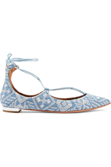 Aquazzura - Christy Embroidered Denim Point-toe Flats - Light denim