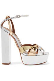Aquazzura Luna metallic leather platform sandals