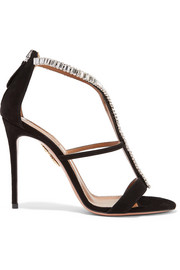 Aquazzura Constance crystal-embellished suede sandals