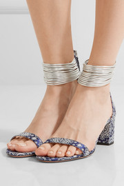 Spin-Me-Around leather-trimmed printed twill sandals
