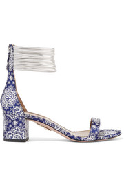 Aquazzura Spin-Me-Around leather-trimmed printed twill sandals