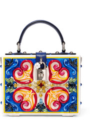 Dolce & Gabbana Dolce embellished leather-trimmed painted wood clutch