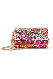 Escape Anna embellished printed brocade shoulder bag