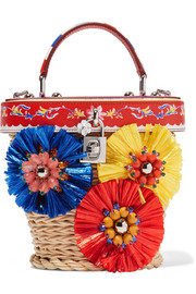 Escape Beauty embellished wicker shoulder bag