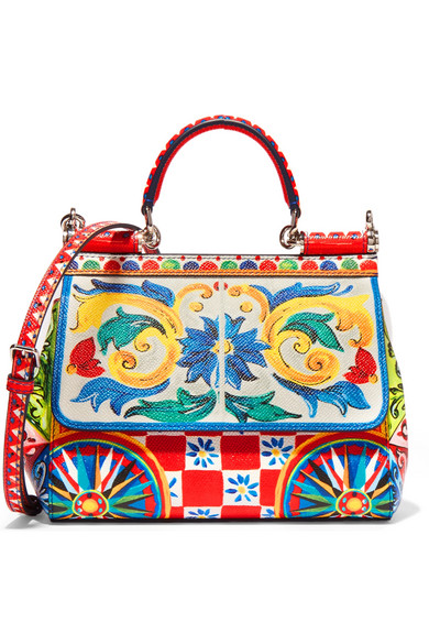 Dolce & Gabbana - Sicily Small Printed Textured-leather Shoulder Bag - one size