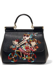 Dolce & Gabbana Sicily medium embellished appliquéd textured-leather tote