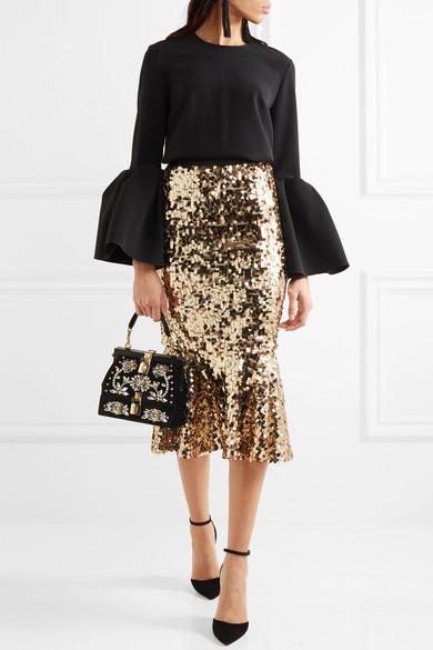 Dolce   Gabbana. Snake-trimmed embellished velvet tote 6469985256bb8