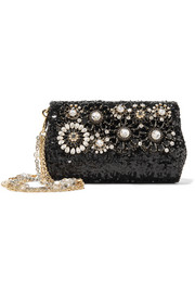 Embellished sequined leather shoulder bag