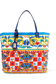 Dolce & Gabbana Leather-trimmed embellished printed canvas tote