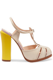 Leather and lizard-effect Mary Jane sandals