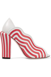 Fendi Striped leather pumps