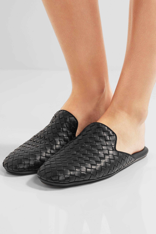 Black Intrecciato leather slippers