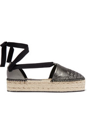 Bottega Veneta Metallic intrecciato leather platform espadrilles