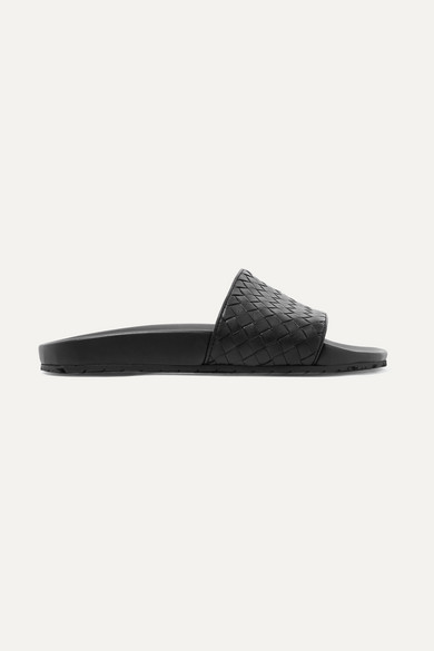 Intrecciato Leather Speedster Slides in Black