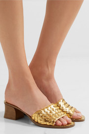 Bottega Veneta Ravello metallic intrecciato leather mules