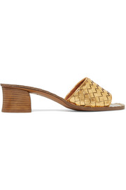 Ravello metallic intrecciato leather mules