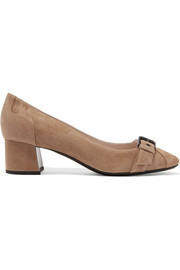Bottega Veneta Buckled intrecciato suede pumps