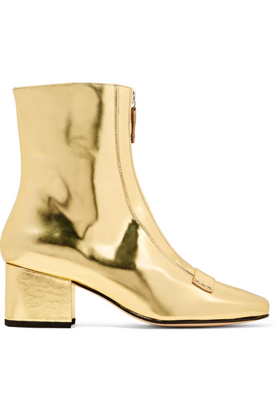 DORATEYMUR - Double Delta Mirrored-leather Ankle Boots - Gold