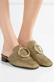 Petrol metallic textured-lamé slippers