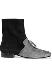 Biturbo embellished suede and textured-lamé ankle boots