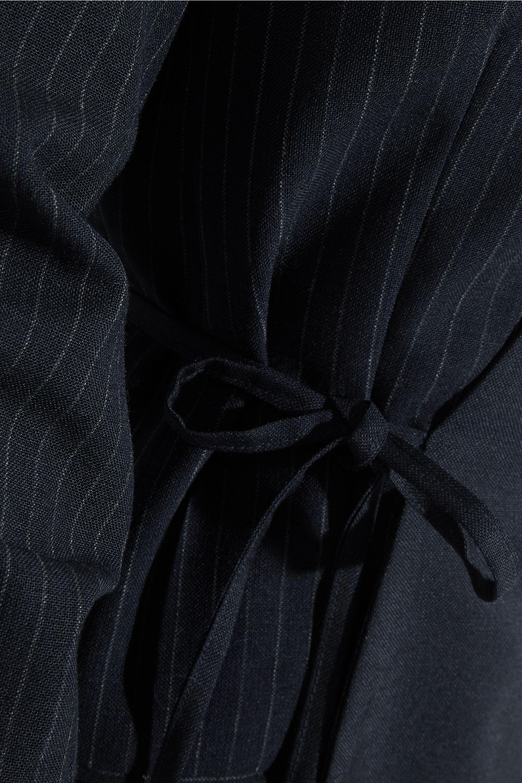 Jacquemus Wrap-effect pinstriped wool-piqué mini dress