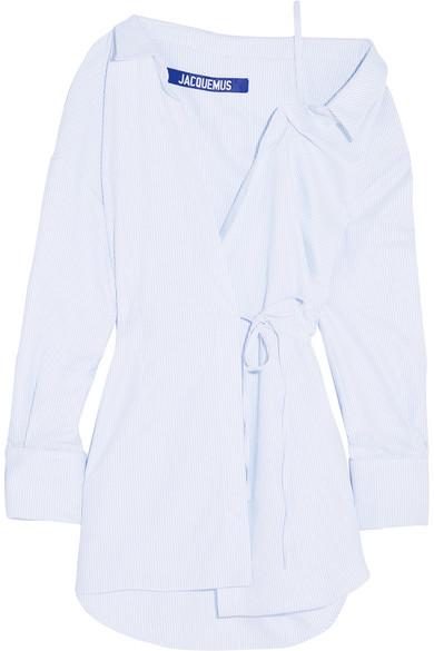 Jacquemus - Striped Cotton Wrap Mini Dress - White