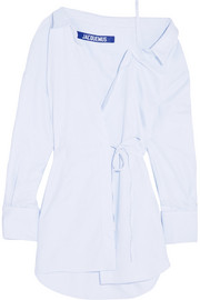 Striped cotton wrap mini dress