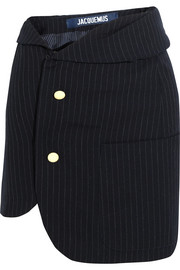 Pinstriped wool mini skirt