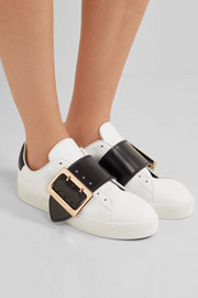 Buckle-embellished patent-trimmed leather sneakers