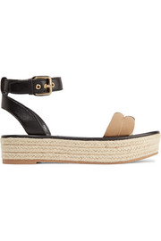 Burberry Leather and checked canvas espadrille sandals