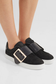 Burberry Buckle-embellished leather-trimmed nubuck slip-on sneakers
