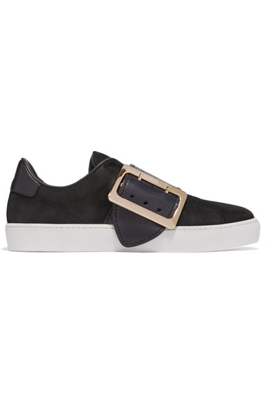 Buckle-embellished leather-trimmed nubuck slip-on sneakers