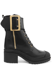 Burberry Buckled glossed-leather boots