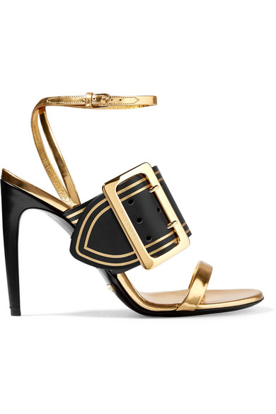 Burberry - Metallic Leather Sandals - Gold