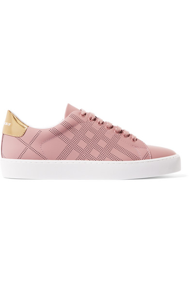 Burberry - Metallic-trimmed Perforated Leather Sneakers - Antique rose